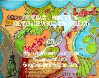 Online Art Class, Learn to Doodle, Art Instruction, E-learning, Doodle with Me