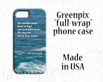 deep blue waters cell phone case, Pacific Ocean photo, scripture Bible verse, inspirational religious quote, iPhone X,  8, 7, 6, 6S Plus