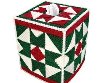 PATTERN: Christmas Quilt Tissue Box Cover in Plastic Canvas