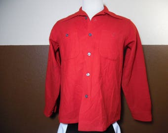Vintage 1970's Pendleton WOOL SHIRT Loop Collar Red Made in USA Men's Sz M