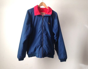 NAVY blue LL Bean FLEECE lined pacific northwest vintage 90s oxford classic basic Men's Large jacket