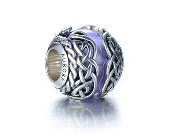 Celtic Mystic Knot Purple Murano Glass & Sterling Silver Charm S925, Irish Celtic Knot Violet Charm Bead pendant Viking Jewelry