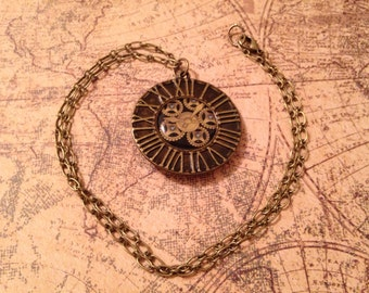 Time and Place Reversible Steampunk Necklace