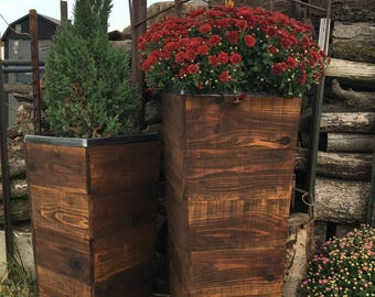 "30"" Tall Cedar Wood Rustic Planter Box / Rustic Planter / Tapered Planter / Patio Planter / Tall Planter / Spring /Mothers Day"