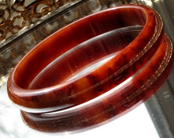 Bakelite Bracelet Vintage Marbled Custard Caramel Raisin Cream Bangle Statement Modernist EOD Bold Rare Mid Century End of Day Wine Opaque