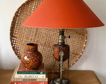 Vintage Large Scale Brass And Wood Ethan Allen Table Lamp, Oil Lamp with Chain