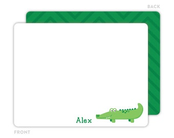 Alligator Note Cards - Personalized Flat Note Cards for Kids - Children Stationery - Kids Stationery - Thank You Card - Gator Notecard
