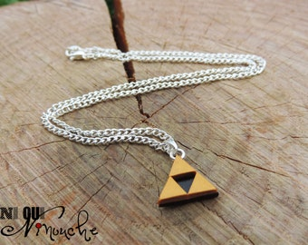Triforce necklace Zelda 40 cm chain (fimo) pendant, geek Christmas for woman girl boy video game geek gift idea