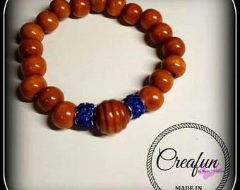 elastic bracelet wooden beads and pearls rhinestones
