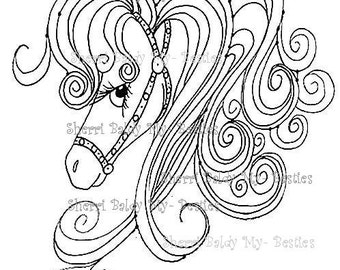 INSTANT DOWNLOAD Digital Digi Stamps Big Eyed  My Bestie Digi Stamp Besties Big Head Dolls Digi The Horse By Sherri Baldy