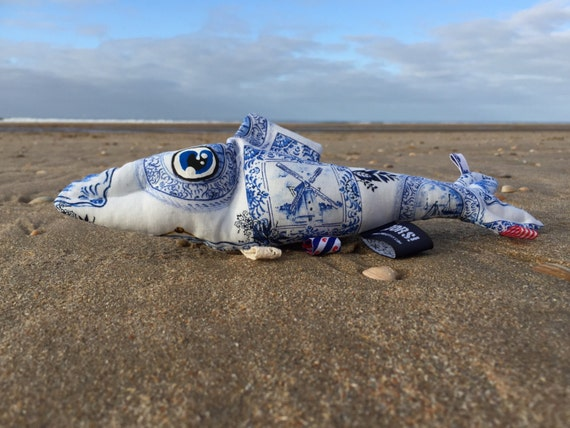 sale! -20% The Dutch Herring Delft Blue tag sensory and rattle toy fish with Holland themed ribbons and a crinkle fin.