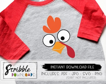 turkey face SVG - thanksgiving instant download - turkey svg - printable PDF - cricut - iron on - Silhouette - digital shirt - cut file PDF