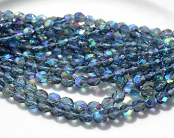 Montana Blue AB 6mm Faceted Fire Polish Round Czech Glass Beads  25