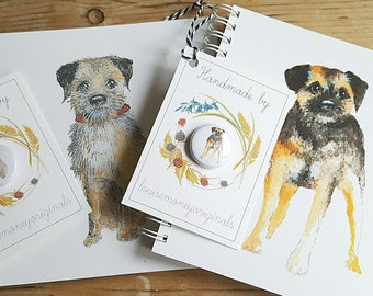 Border terrier notebook with matching badge. Gift for the border terrier lover. border terrier book. border terrier badge. border present