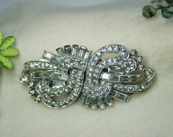 Vintage 1930s Art Deco Engel Bros. Fur Clip Duette Dazzling Paste Rhinestones - Signed - Own a piece of history