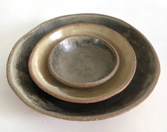 Ceramic Nesting Bowl Set, 3 Stoneware Pottery Bowls