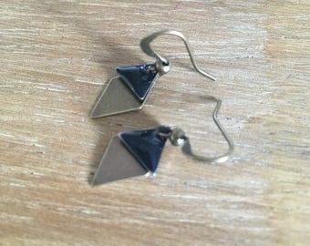 Bronze and black diamond earrings