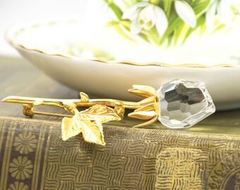 Vintage Swarovski Crystal Rose Brooch  - Vintage Brooch - Rose Brooch - Vintage Glass Brooch - Gift For Her - Mom Gift - Holiday Gift
