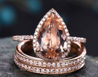 2.5 carat morganite engagement ring rose gold,solid 14k gold,diamond halo ring,3pcs bridal set ,diamond matching band,morganite wedding ring