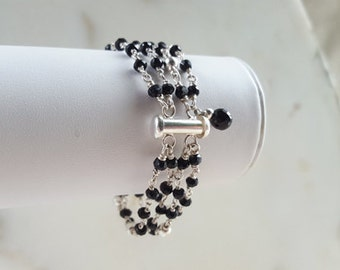 Black Spinel and Sterling Silver Multi Strand Gemstone Cuff Bracelet Modern Statement Stacking Piece Layered Chain Fine Jewelry Life Bijou