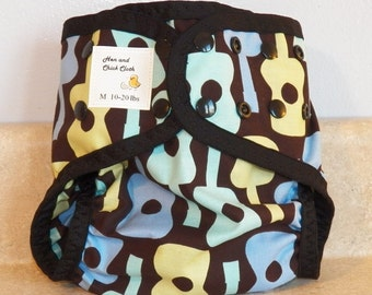Medium PUL Diaper Cover with Leg Gussets- 10 to 20 pounds- Groovy Guitars- 22010
