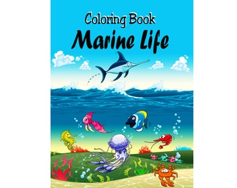 Marine Life Adult Coloring Book Digital Pages Printable Sea Life Sealife Underwater World pdf Books Grownups Relaxation Stress Relief