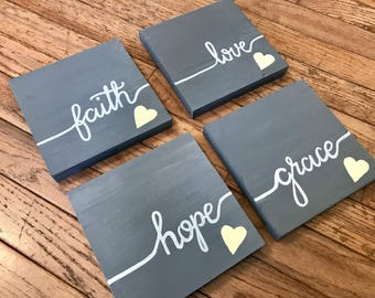 Set of Four Square Wooden Signs