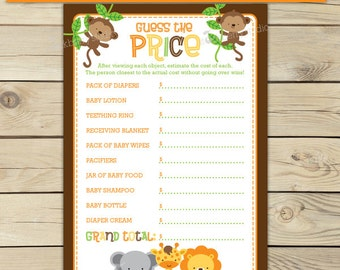 Safari Baby Shower Price Is Right Game Printable - Jungle Baby Shower Games - Instant Download - Baby Shower Activities - Guessing Game