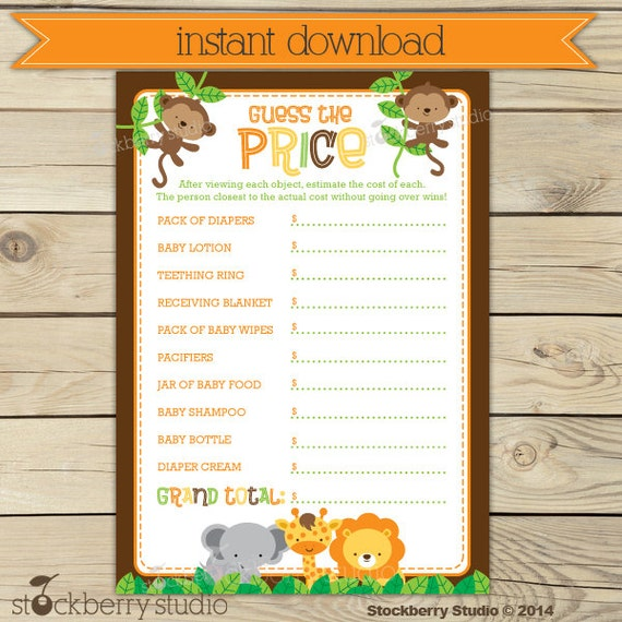 Safari Baby Shower Price Is Right Game Printable Jungle Baby