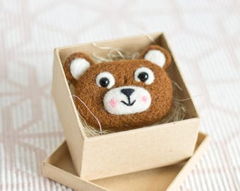 Bear Pins - Bear Pins - Bear Brooch Animal jewelry Needle felted Animal Gift for Her Woodland Animals Brooch Pin Baby Gift Birthday Gift