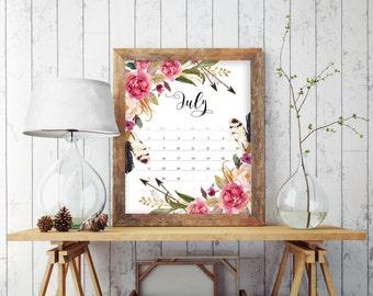 Wall calendar 2018, 2018 Calendar, Floral Calendar 2018, Printable Calendar, Monthly Calendar, 2018 Wall Calendar, Calendar Printable, 7023