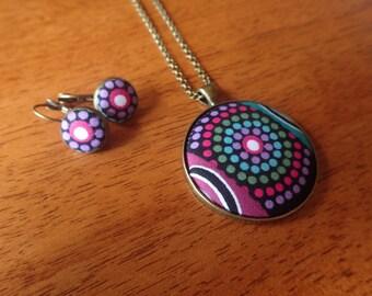 Aboriginal Jewellery Pendant and Earring Set// Fabric Desert Flower Art Design// Gift for Her