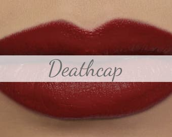 "Vegan Matte Red Lipstick Sample - ""Deathcap"" deep true red natural lipstick with organic ingredients"