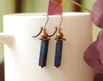 Lapis Lazuli sticks copper earrings Blue Earrings Gemstone Earrings Lapis Dangle Earrings Long Earrings Birthday Gift for Her Small Earrings
