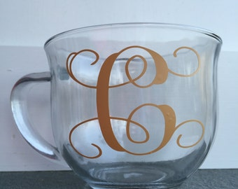 Monogram, Coffee Cup, Glass Coffee Cup, Vine Lettering, Personalized coffee cup, Monogram Coffee Cup