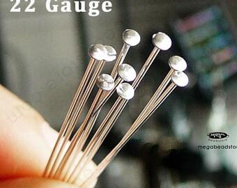 25 pcs 22 Gauge 2 inch 925 Sterling Silver Flat Head Pins F42