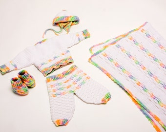Worsted Weight Layette Crochet Pattern PDF