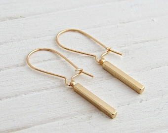 Gold Bar Earrings .. gold stick earrings, bar earrings, geometric earrings, simple earrings, minimal earrings