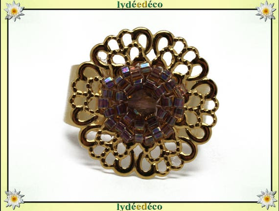 IRIS print with brass flower ring gold plated 24 carat 24 K woven beads Japanese iridescent Brown amber color 20mm adjustable