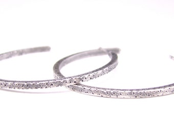 Sterling Silver Prickly Hoops Tetured Earrings Cactus Dots Handforged BoHo Hoops