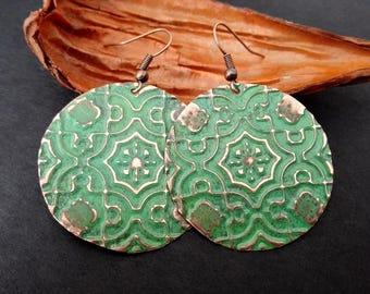 Boho Earrings   Textured Copper Round Earrings   Bohemian Earrings   Vintage Boho Chic Earrings   Verdigris Patina Copper Gipsy Earrings