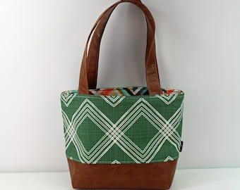 Lulu Medium Tote  Bag - Colton Green with PU Leather - READY to SHIP   Purse Shoulder Straps 3 pockets Handbag Washable