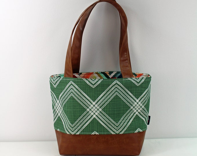 Lulu Medium Tote  Bag - Colton Green with PU Leather - READY to SHIP