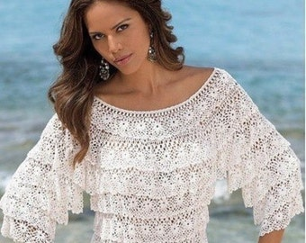 Openwork Womens White blouse by rushes Lace Crochet blouse Fancy blouse Summer blouse Womens crochet blouse Elegant rushes blouse sea flower