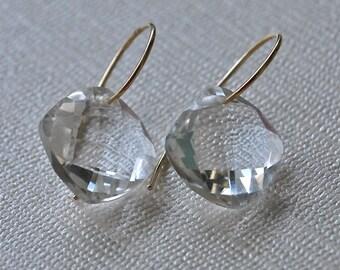 Clear Rock Quartz 14K Gold Earrings April Birthstone