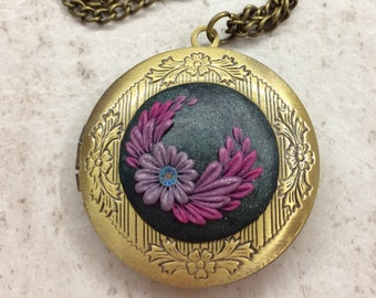 Floral jewelry, polymer clay necklace, photo locket pendant, polymer clay, filigree pendant, purple necklace