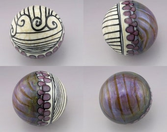 SRA Lampwork Marble Glass Marble Collectible Art Glass Purple Marble Ivory and Black Linework Scrollwork Marble OOAK Heather Behrendt 5196