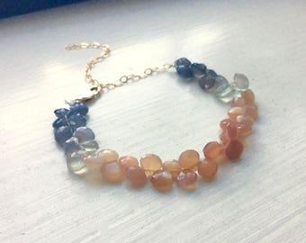 Moonstone bracelet peach grey white June birthstone briolettes drape gold silver rose gold
