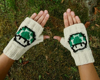 Retro Nintendo Green 1 Up Mushroom Fingerless Gloves - Super Mario Bros Knit Gloves - Mario Wristwarmers - Knit Comic Con Fingerless Gloves