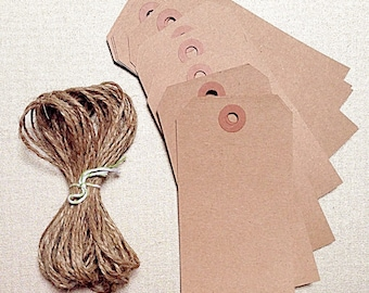 KRAFT Hang Tags| 50 Recycled Cardstock LARGE Gift Tag | Natural Party Favor + Jute Twine String OPTIONAL
